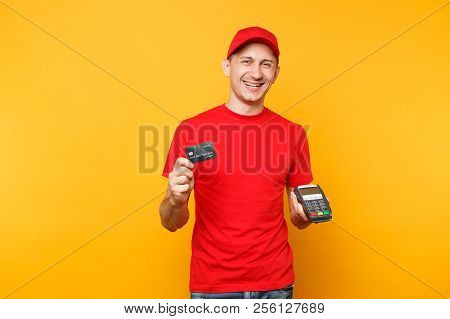 Delivery Man In Red Uniform Isolated On Yellow Background. Male Employee In Cap, T-shirt Courier Hol
