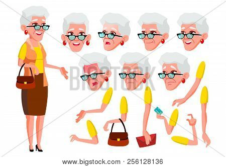 Old Woman Vector. Senior Person. Aged, Elderly People. Pretty. Face Emotions, Various Gestures. Anim