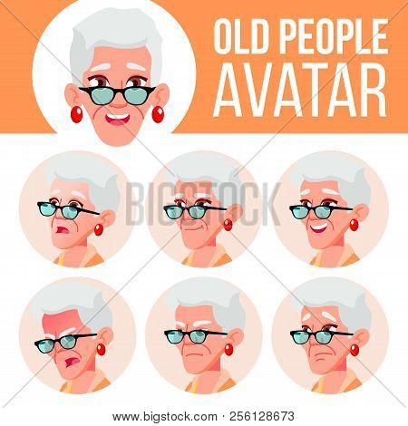 Old Woman Avatar Set Vector. Face Emotions. Senior Person Portrait. Elderly People. Aged. Life, Emot