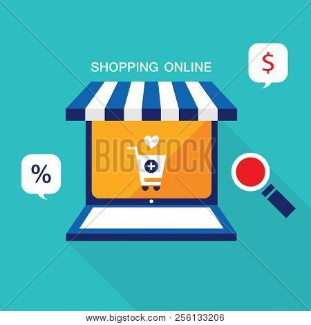 E Commerce Business Concept. Online Store, Shopping, Sale And Buy Products. Vector Illustration