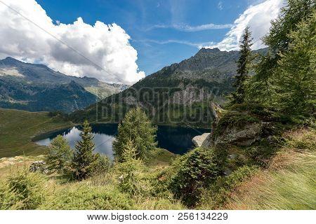 Lake Of Campo (lago Di Campo) 1944 M. Small Beautiful Alpine Lake In The National Park Of Adamello B