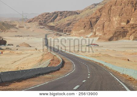 Desert road in the Sinai desert in Egypt