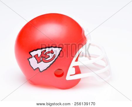 Irvine, California - August 30, 2018: Mini Collectable Football Helmet For The Kansas City Chiefs Of