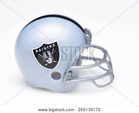 Irvine, California - August 30, 2018: Mini Collectable Football Helmet For The Oakland Raiders Of Th
