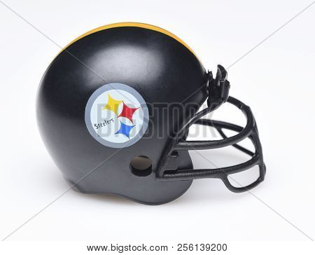 Irvine, California - August 30, 2018: Mini Collectable Football Helmet For The Pittsburgh Steelers O