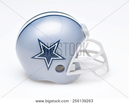 Irvine, California - August 30, 2018: Mini Collectable Football Helmet For The Dallas Cowboys Of The