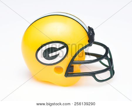Irvine, California - August 30, 2018: Mini Collectable Football Helmet For The Green Bay Packers Of