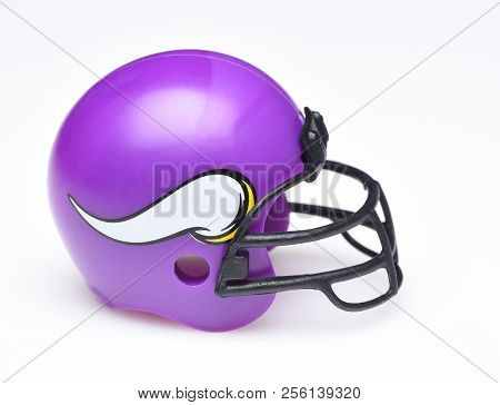 Irvine, California - August 30, 2018: Mini Collectable Football Helmet For The Minnesota Vikings Of