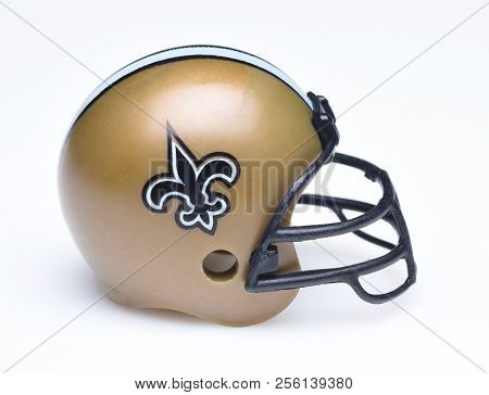 Irvine, California - August 30, 2018: Mini Collectable Football Helmet For The New Orleans Saints Of