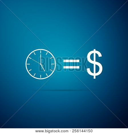 Time Is Money Sign Isolated On Blue Background. Money Is Time. Effective Time Management. Convert Ti