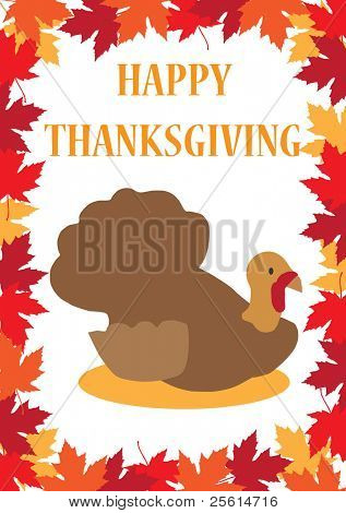 Thanksgiving greeting card with a turkey on a maple leafs background - raster version (vector available)