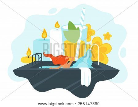 Vector Flat Style Illustration Of Young Woman In Spa Salon, Taking Bath. Aromatherapy Candles, Flowe