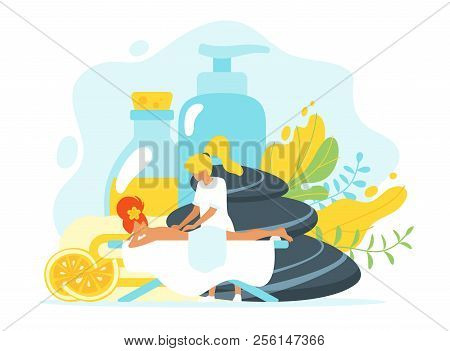 Vector Flat Style Illustration Of Young Woman In Spa Salon, Laying On Massage Table. Organic Cosmeti