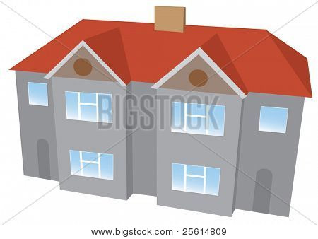 Semi-detached house - raster version (vector available)