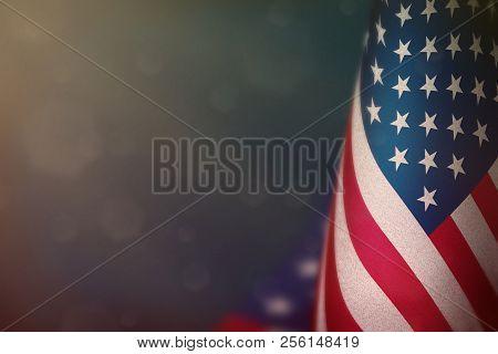 Usa Hanging Flag For Honour Of Veterans Day Or Memorial Day On Light Blue Dark Velvet Background. Us