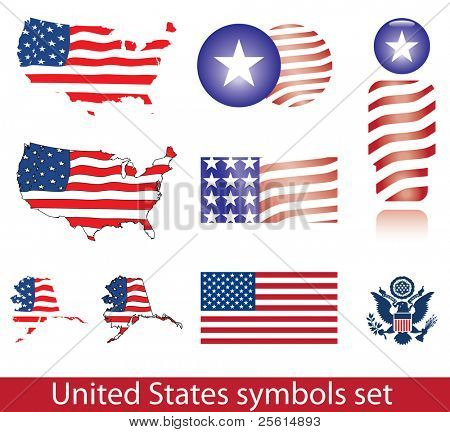 Raster version of United States of America symbol set. Flag, map, seal, badge and person icon - (vector available)