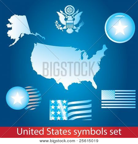 Raster version of United States of America symbol set. Blue style. Flag, map, seal, badge (vector available)