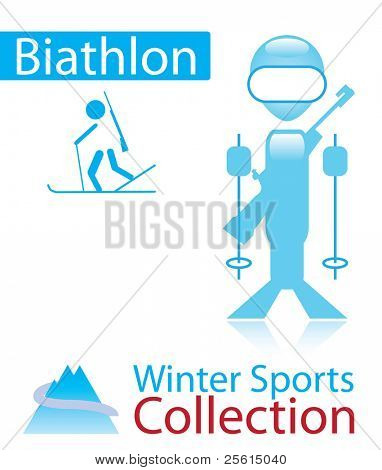 Biathlon from winter sports collection. sign and person icon.