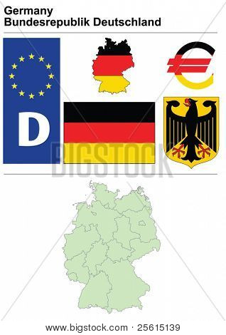 Germany collection including flag, plate, map (administrative division), symbol, currency unit & coat of arms