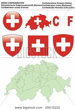 Switzerland collection including flag, map (administrative division), symbol, currency unit & glossy button