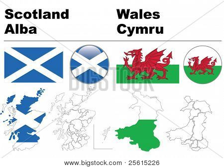Scotland and Wales collection including flag, map (administrative division), symbol, glossy button.