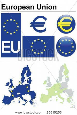 Raster version (vector available in my portfolio) of European Union collection including flag, plate, map (administrative division), symbol, currency unit & coat of arms
