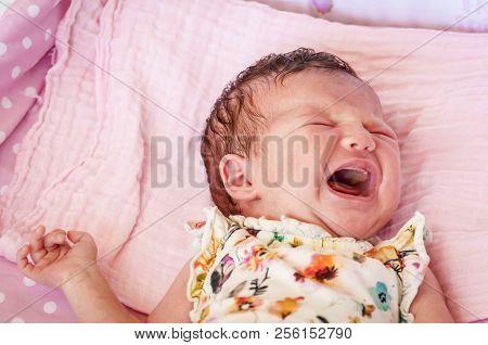 Hungry Caucasian Newborn Infant Baby Girl Crying Hard Demanding Mother Milk. Crying Baby Stock Image