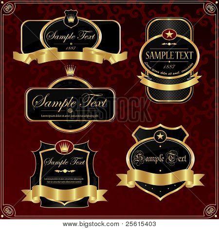 Detailed ornate vintage label set.