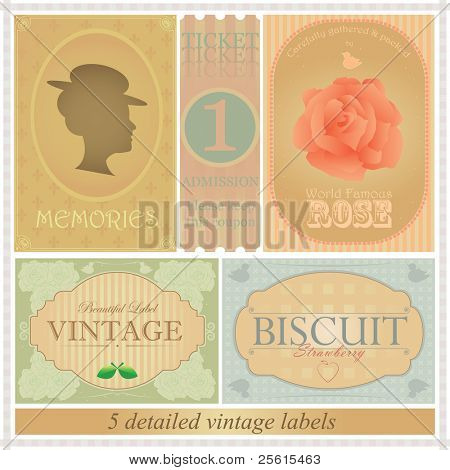 Detailed vintage label set