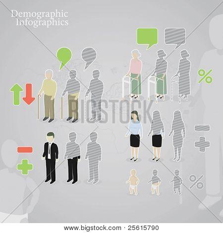 demografische Infografiken. Menschen Ikonen einschließlich Mann, Frau, alte, alte Frau und Baby in eine d gemacht