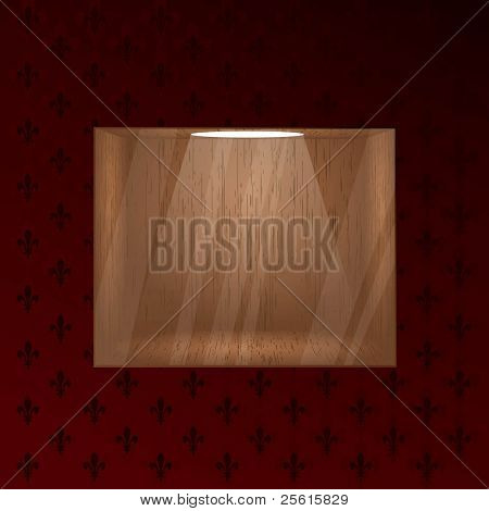 Empty wooden shelf for exposition. Light effect. Glass effect on a separate layer.