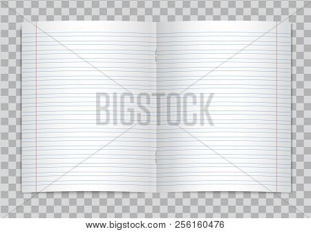 Vector Opened Realistic Lined Elementary School Copybook With Red Margins On Transparent Background.