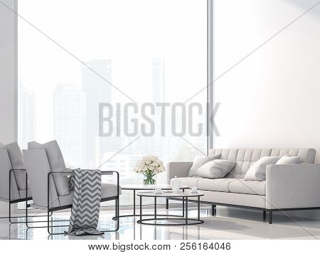 Modern White Living Room With City View 3d Render,decorate With White Fabric And Black Metal Furnitu