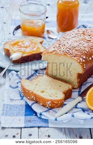 French Brioche - french sweet brioche bread with orange marmalade poster