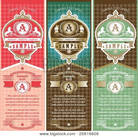 Vertical vintage Labels