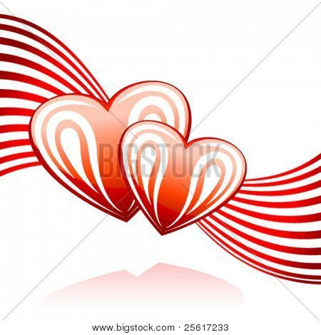a glossy valentine's day heart with ornaments