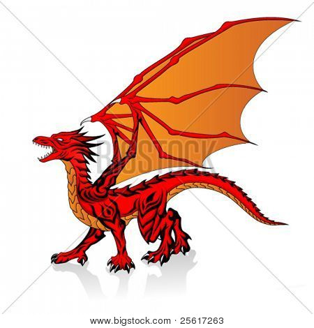 vector illustration of fantasy red dragon
