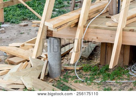 The Pile Foundation Of The Frame House. Construction Of Frame Wooden House.