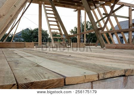 Floor Of The Frame House. Construction Of Frame House Parts.