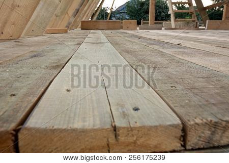 Floor Frame House, Shallow Depth Of Field. Construction Of Frame House Parts.