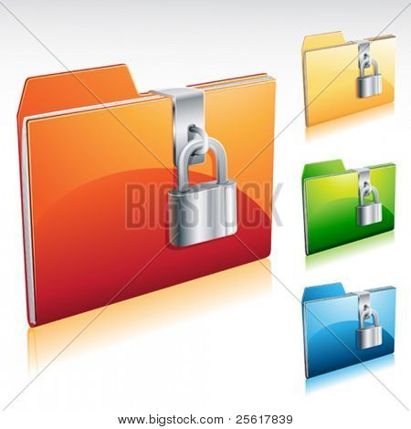 Folder lock icon with color variations