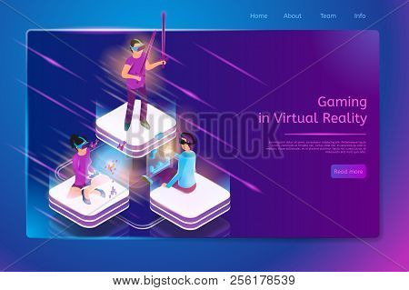 Gaming In Virtual Reality Isometric Web Banner With Female And Male Gamers In Vr Goggles Playing Vid