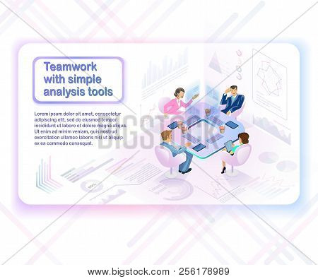 Teamwork With Simple Analysis Tools Isometric Vector Concept With Female And Male Business Persons A