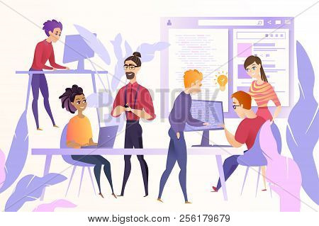 Online Startup Development Cartoon Vector Concept With Young Web Developers, Programmers Or Coders T
