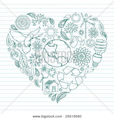 Environmental Doodles arranged in the shape of a heart