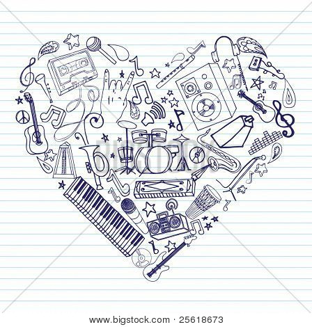 Variety of hand drawn music doodles in heart shape on lined paper.