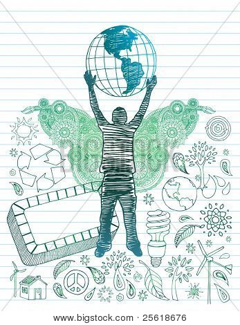 Hand drawn youth with globe over head and environmental doodles