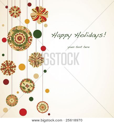Christmas ornaments line side of card with lots of room for text.