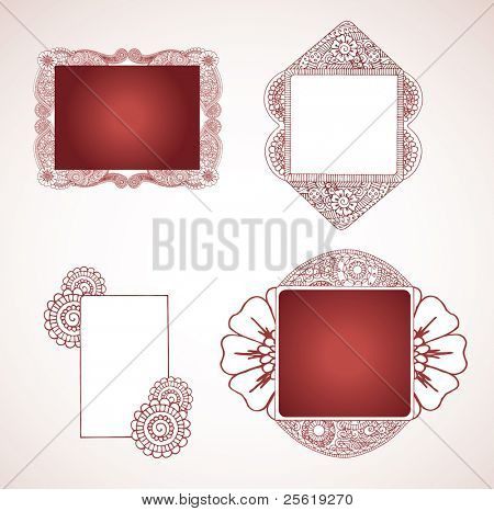 Four henna frames for text or images.