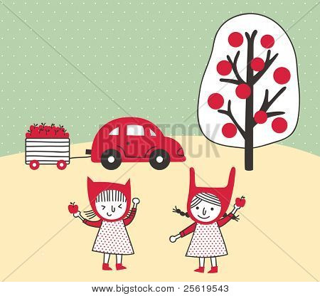 Two Little Cute Girls Go to Pick Apples. Vector Illustration.